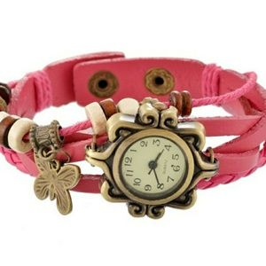 Vintage pink Butterfly watch